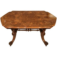 Burr Walnut Victorian Period Antique Coffee Table