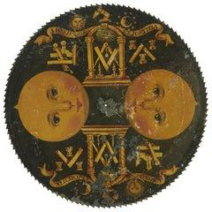 English Painted Brass Masonic Longcase Moonphase Clock Dial, circa 1800