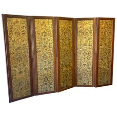 19th Century Embossed Leather and Oak Room Divider or Dressing Screen
