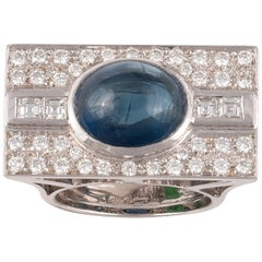Cabochon Sapphire and Diamond Dress Ring