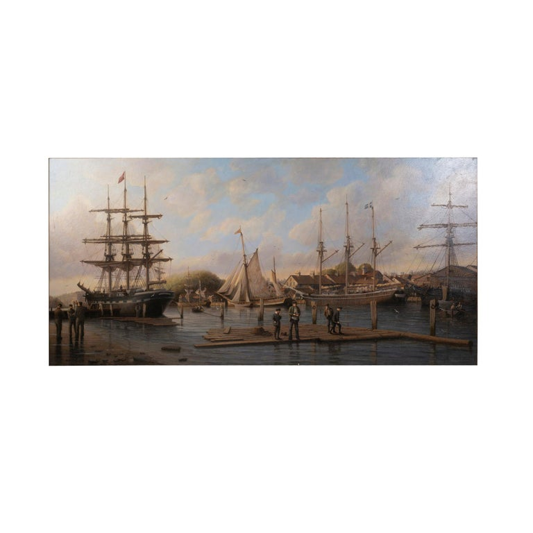 20th Century A Calm Day in the Harbor', Signed Anthony Brandrett l/r For Sale