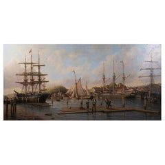 A Calm Day in the Harbor', Signed Anthony Brandrett l/r