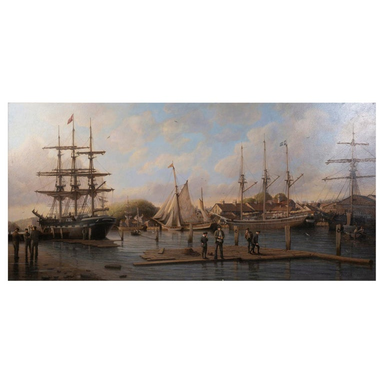 A Calm Day in the Harbor', Signed Anthony Brandrett l/r For Sale