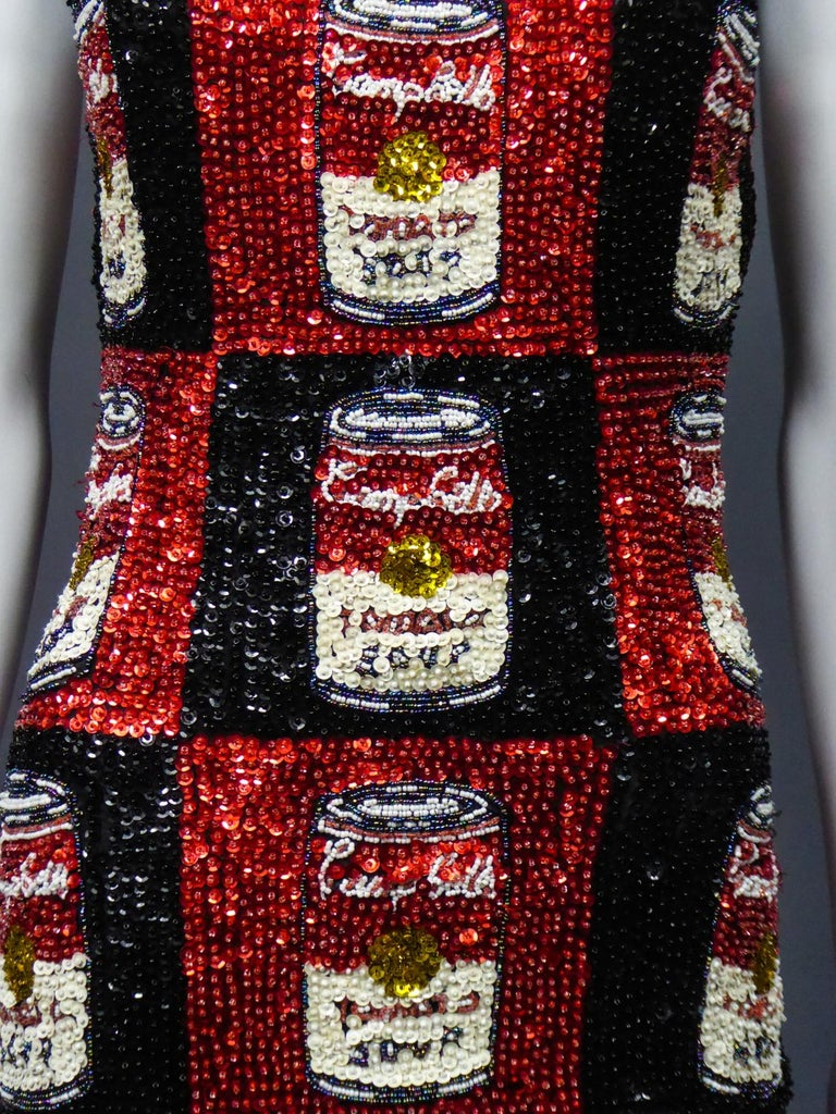 A Campbell's Soup Embroidered Mini Dress Andy Warhol Pink Soda Circa 1990 For Sale 2