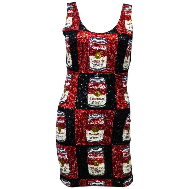 A Campbell's Soup Embroidered Mini Dress Andy Warhol Pink Soda Circa 1990 For Sale
