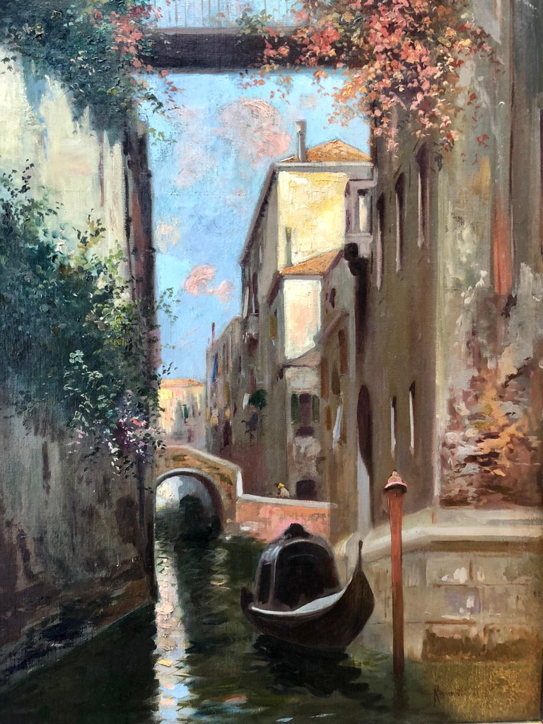 Oil on board, signed lower left. (1864 - 1935) Ricciardi began his studies under painter, Bernardo Celentano, and was also influenced by the