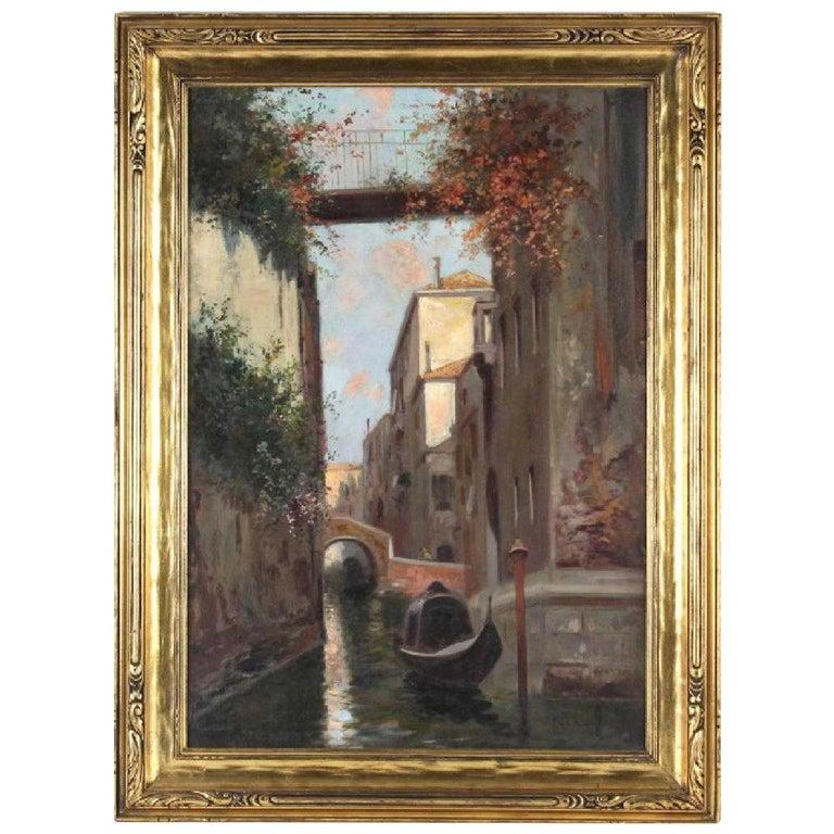 """""""A Canal in Venice"""" by Oscar Ricciardi For Sale"""