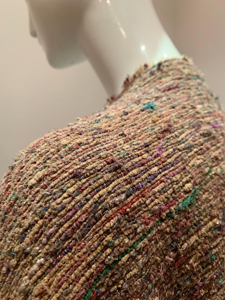 A Cappuccino Woven Silk Slubbed Shawl or Wrap W/ Fringe & Colors Shot Through For Sale 6