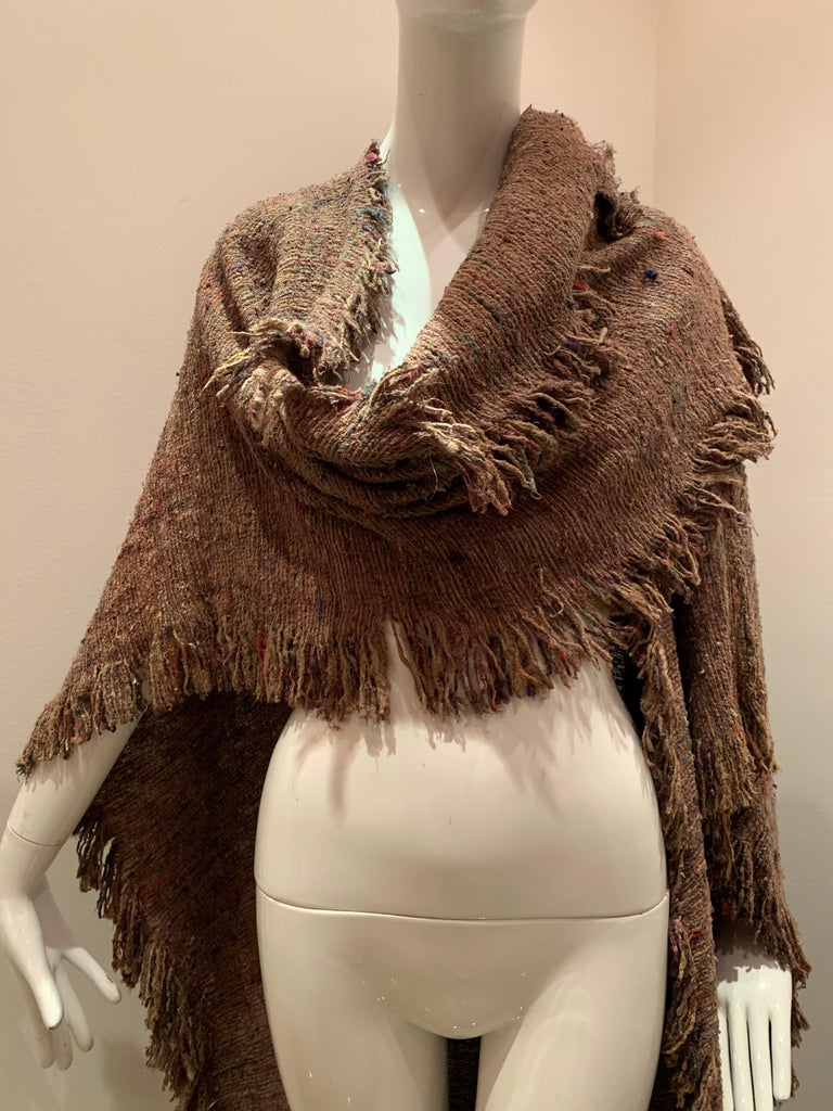 A Cappuccino Woven Silk Slubbed Shawl or Wrap W/ Fringe & Colors Shot Through For Sale 7