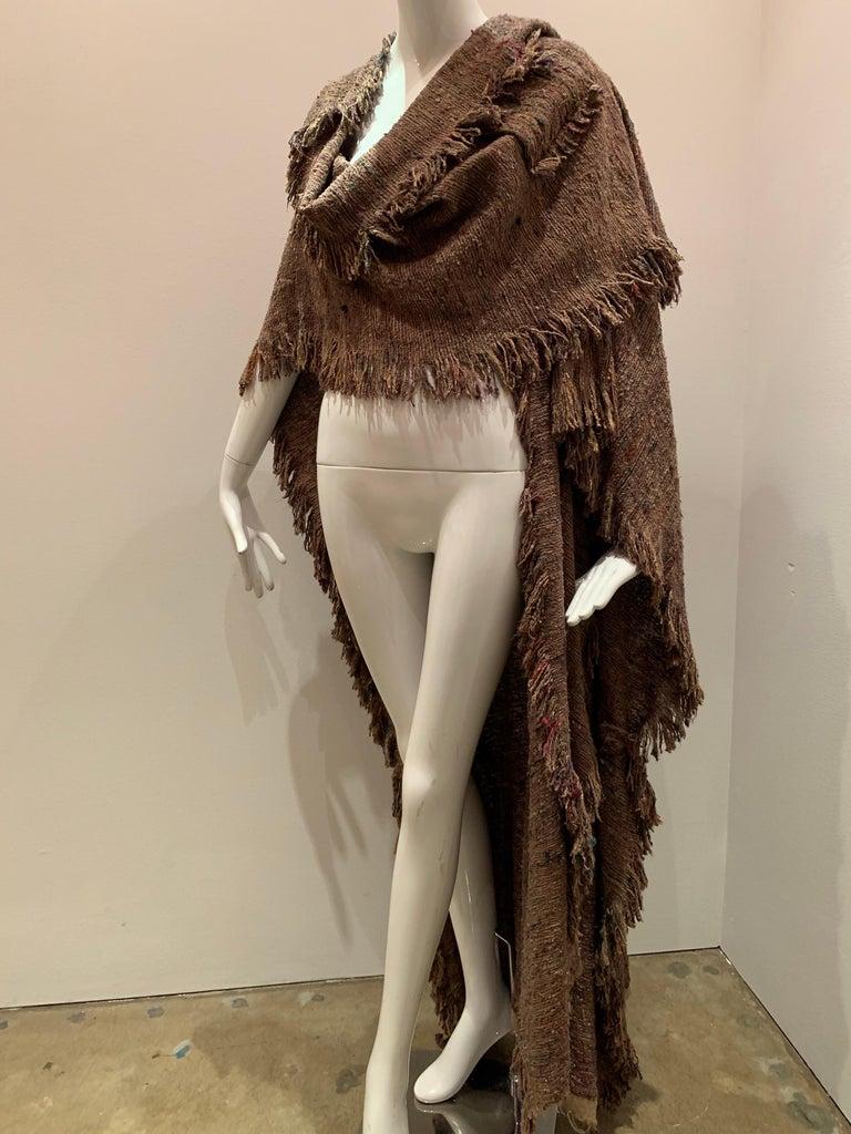 A Cappuccino Woven Silk Slubbed Shawl or Wrap W/ Fringe & Colors Shot Through For Sale 8