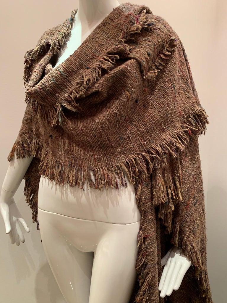 A Cappuccino Woven Silk Slubbed Shawl or Wrap W/ Fringe & Colors Shot Through For Sale 9