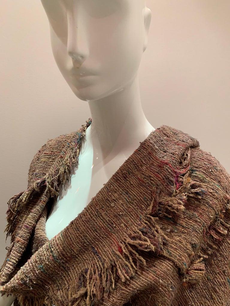 A Cappuccino Woven Silk Slubbed Shawl or Wrap W/ Fringe & Colors Shot Through For Sale 10