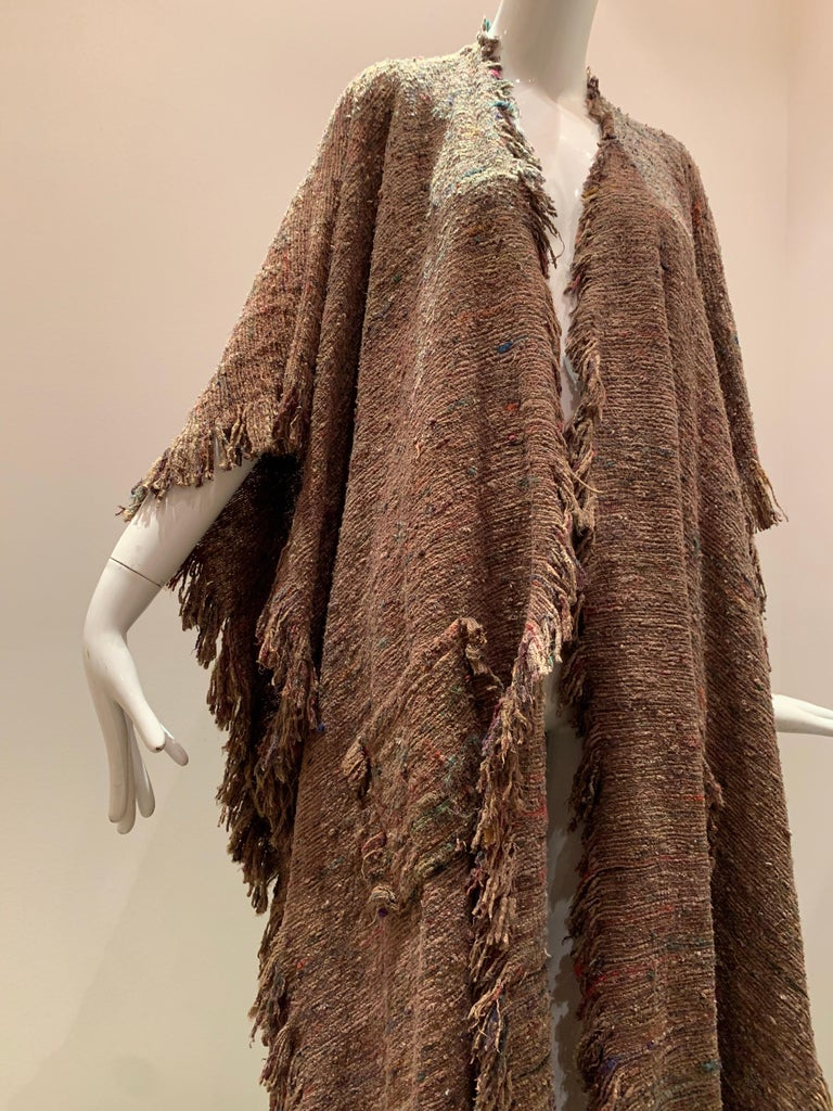 A Cappuccino Woven Silk Slubbed Shawl or Wrap W/ Fringe & Colors Shot Through In Excellent Condition For Sale In San Francisco, CA