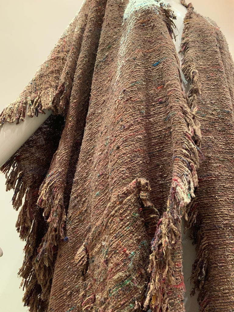 Women's or Men's A Cappuccino Woven Silk Slubbed Shawl or Wrap W/ Fringe & Colors Shot Through For Sale