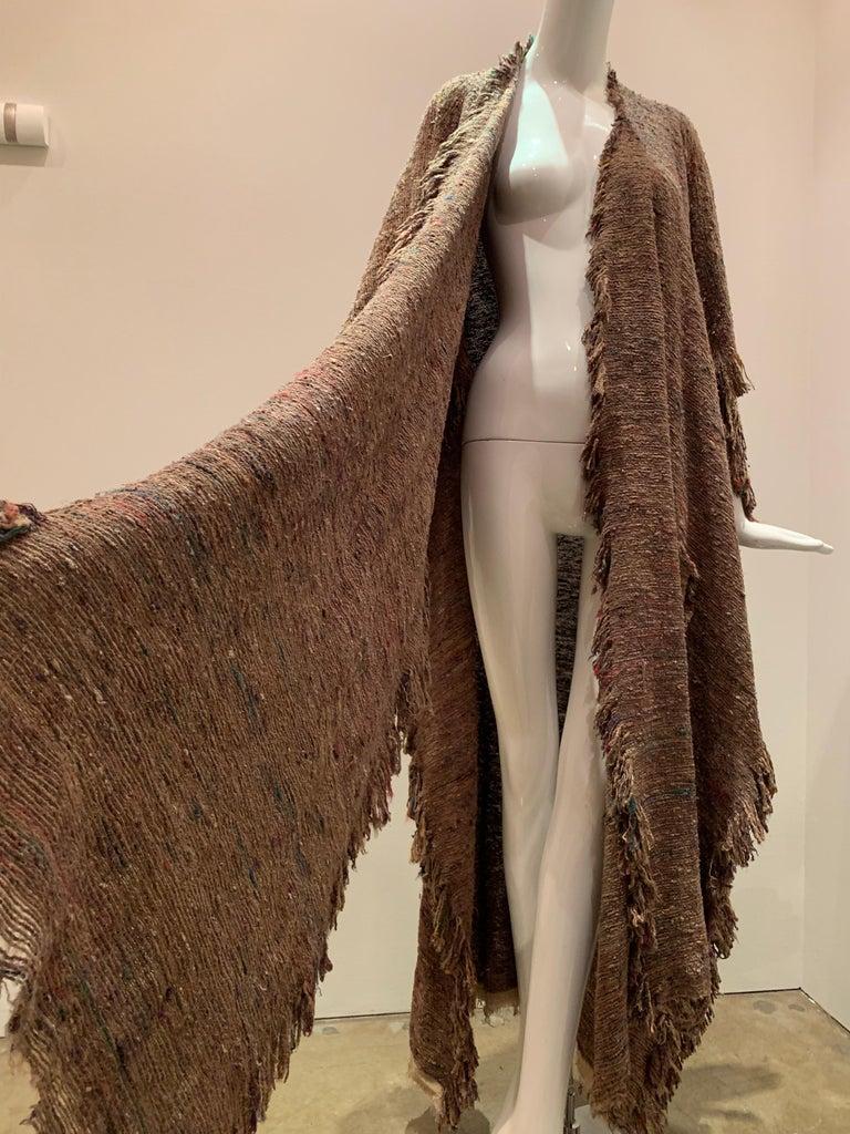 A Cappuccino Woven Silk Slubbed Shawl or Wrap W/ Fringe & Colors Shot Through For Sale 1