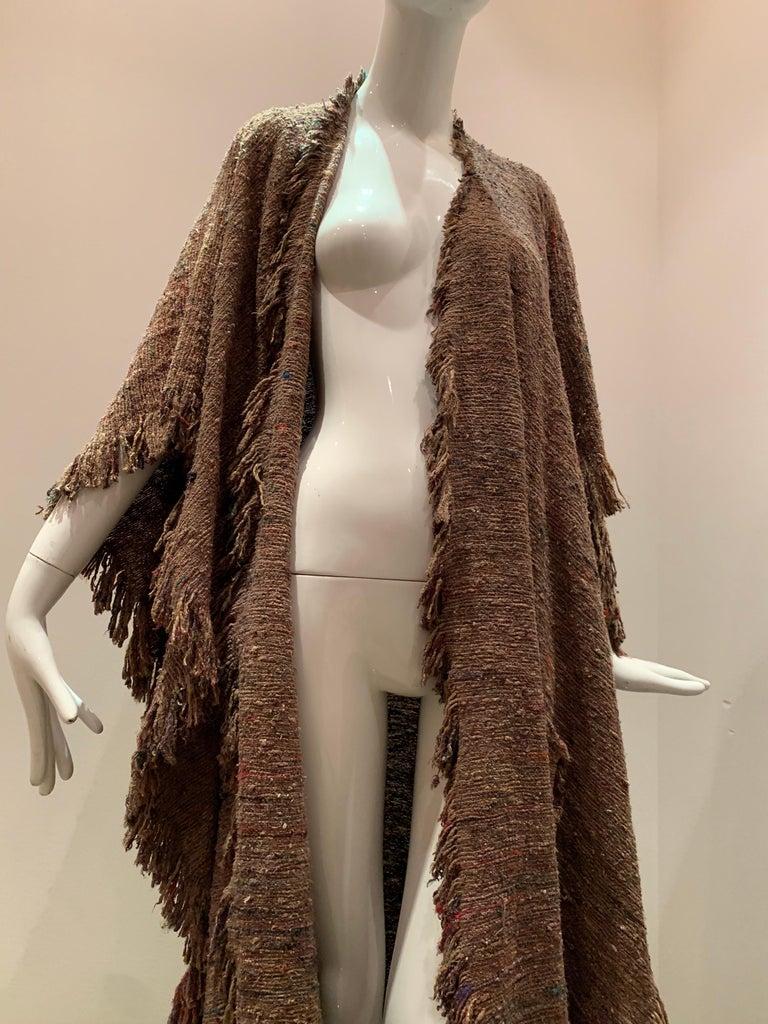 A Cappuccino Woven Silk Slubbed Shawl or Wrap W/ Fringe & Colors Shot Through For Sale 2