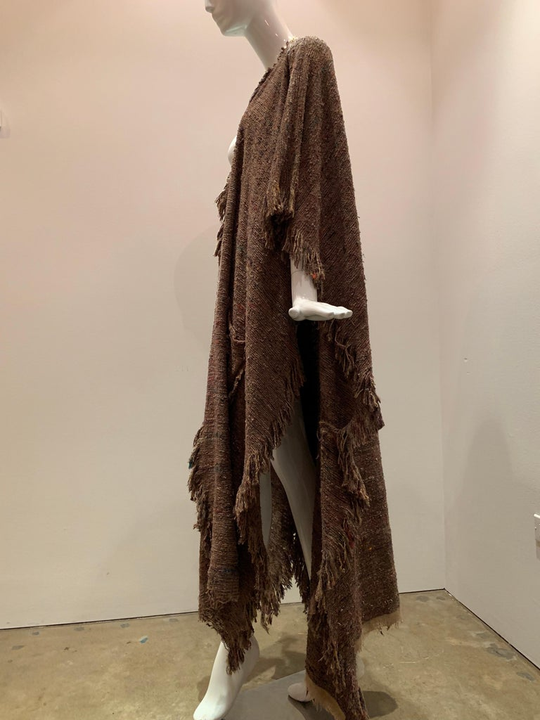 A Cappuccino Woven Silk Slubbed Shawl or Wrap W/ Fringe & Colors Shot Through For Sale 3