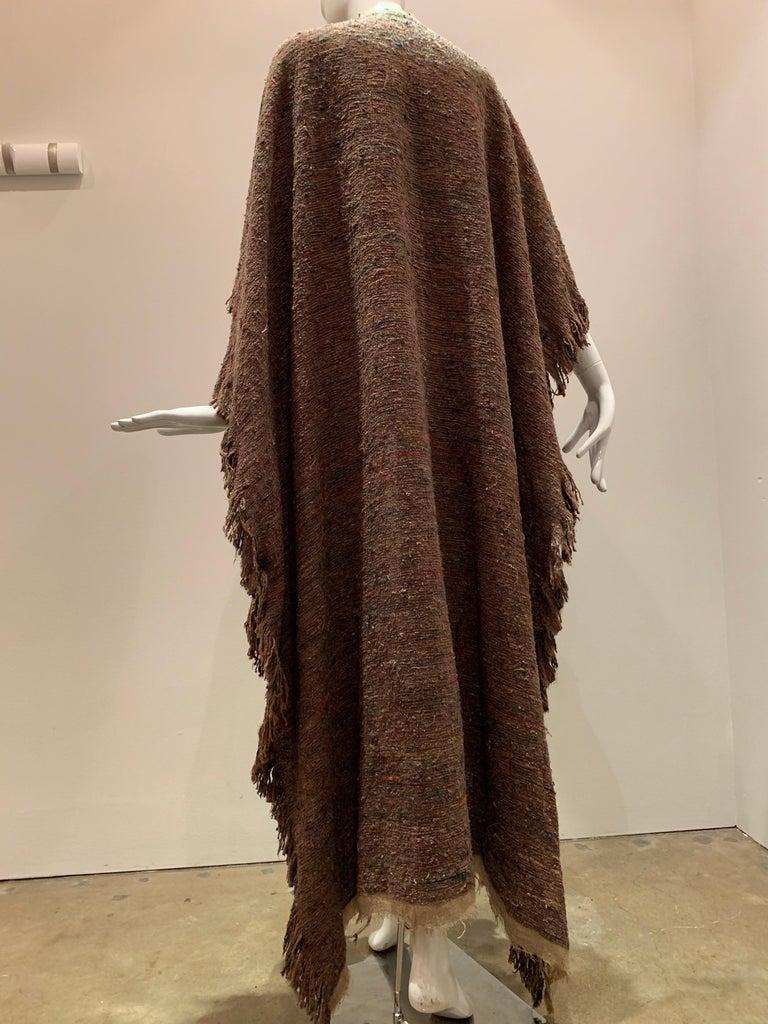 A Cappuccino Woven Silk Slubbed Shawl or Wrap W/ Fringe & Colors Shot Through For Sale 4
