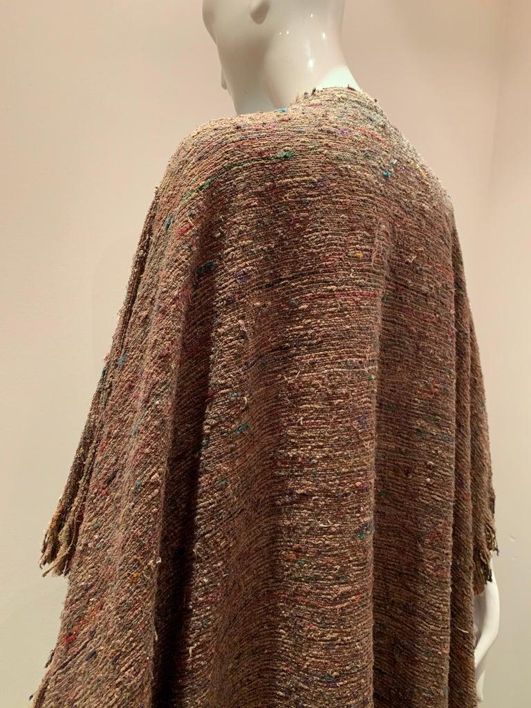 A Cappuccino Woven Silk Slubbed Shawl or Wrap W/ Fringe & Colors Shot Through For Sale 5