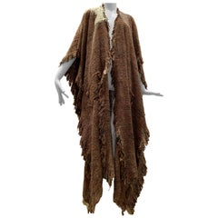 A Cappuccino Woven Silk Slubbed Shawl or Wrap W/ Fringe & Colors Shot Through