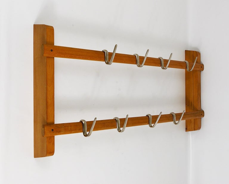 Carl Auböck Midcentury Coat Rack with 8 Nickel-Plated Hooks For Sale 3