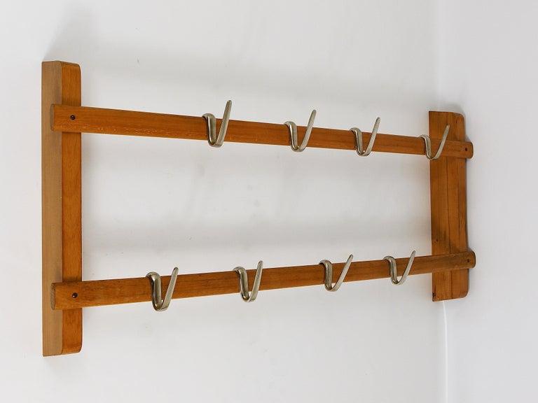 Mid-Century Modern Carl Auböck Midcentury Coat Rack with 8 Nickel-Plated Hooks For Sale