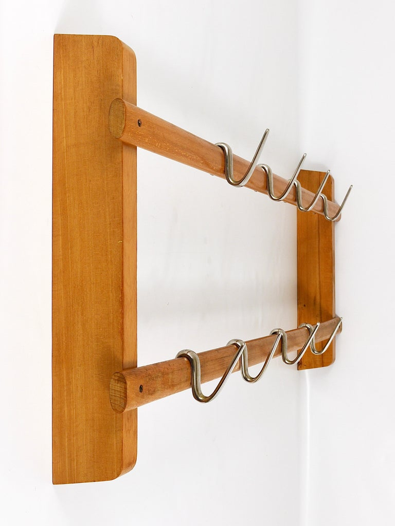 Austrian Carl Auböck Midcentury Coat Rack with 8 Nickel-Plated Hooks For Sale