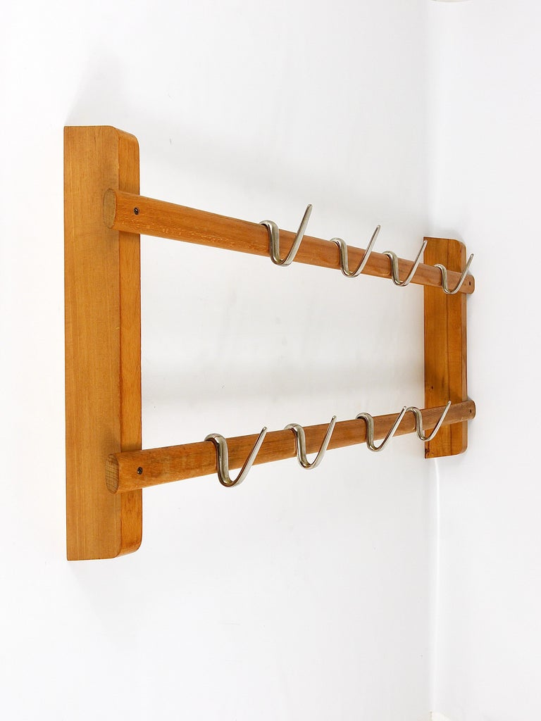 Carl Auböck Midcentury Coat Rack with 8 Nickel-Plated Hooks In Excellent Condition For Sale In Vienna, AT