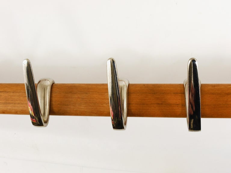 Carl Auböck Midcentury Coat Rack with 8 Nickel-Plated Hooks For Sale 2