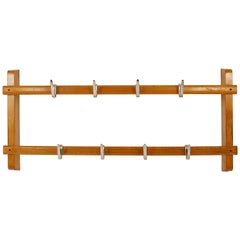 Carl Auböck Midcentury Coat Rack with 8 Nickel-Plated Hooks