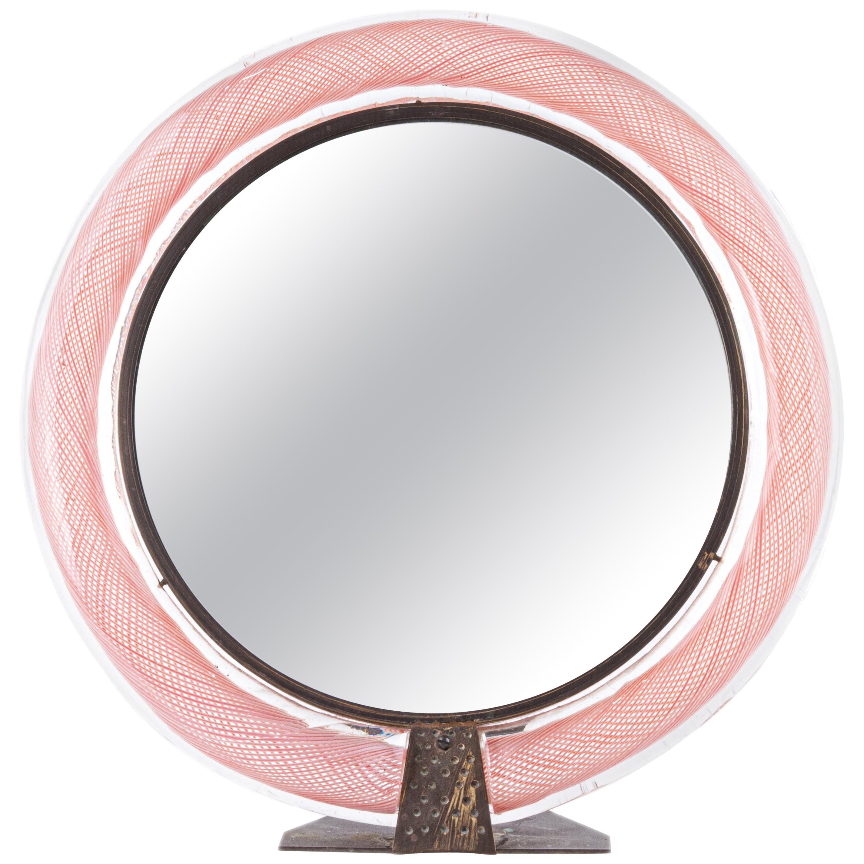 Carlo Scarpa Mezza Filigrana Vanity Mirror for Venini, circa 1935