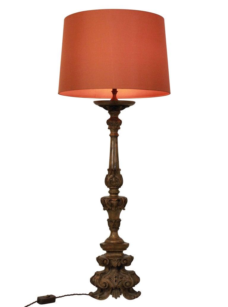 Late 18th Century Carved 18th Century Walnut Lamp