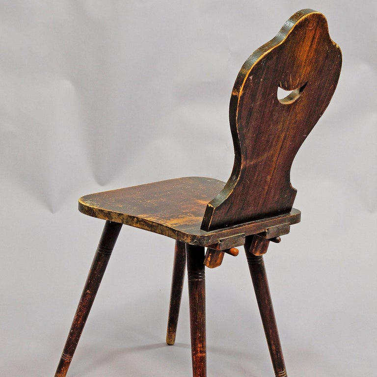Black Forest Carved and Painted Folksy Chair, circa 1910 For Sale