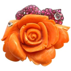 Carved Coral, Spinel and Diamond Rose Brooch in 18 Karat Blackened Gold