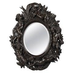 Carved Ebonised Mirror Attributed to Valentino Besarel, circa 1870