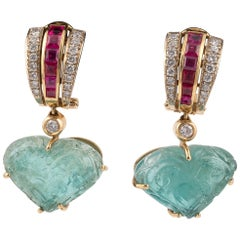 Carved Emerald, Ruby Diamond and Gold Day/Night Earclips