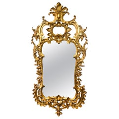 Carved Gilt Gold Leaf Italian Wall or Console Mirror in Rococo Renaissance Form