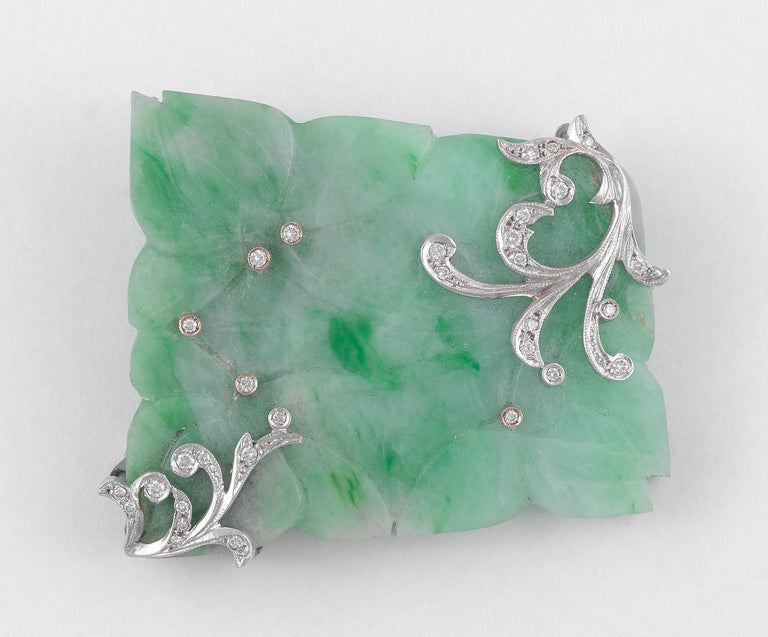 Art Nouveau Carved Jadeite Jade, Diamond and White Gold Brooch For Sale