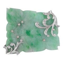 Carved Jadeite Jade, Diamond and White Gold Brooch
