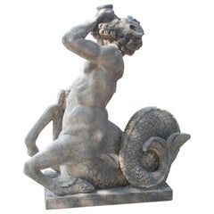 Carved Vicenza Triton Sea Centaur Sculpture or Fountain Element from Italy