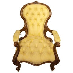 Carved Walnut Victorian Deep Buttoned Antique Armchair