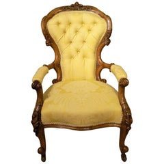 Carved Walnut Victorian Period Antique Armchair Gold Fabric