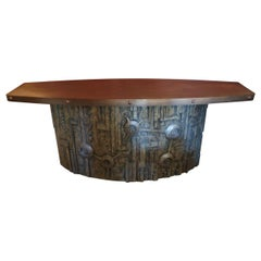 Carved Wood and Brass Top Midcentury Italian Console Table, 1970