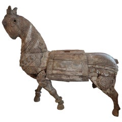 Carved Wood Asian Horse, Mogol Period, India 17th Century