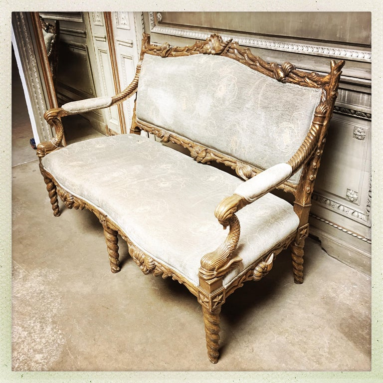 Neoclassical Carved Wood Grotto Style Sofa with a Metal Leaf Finish For Sale