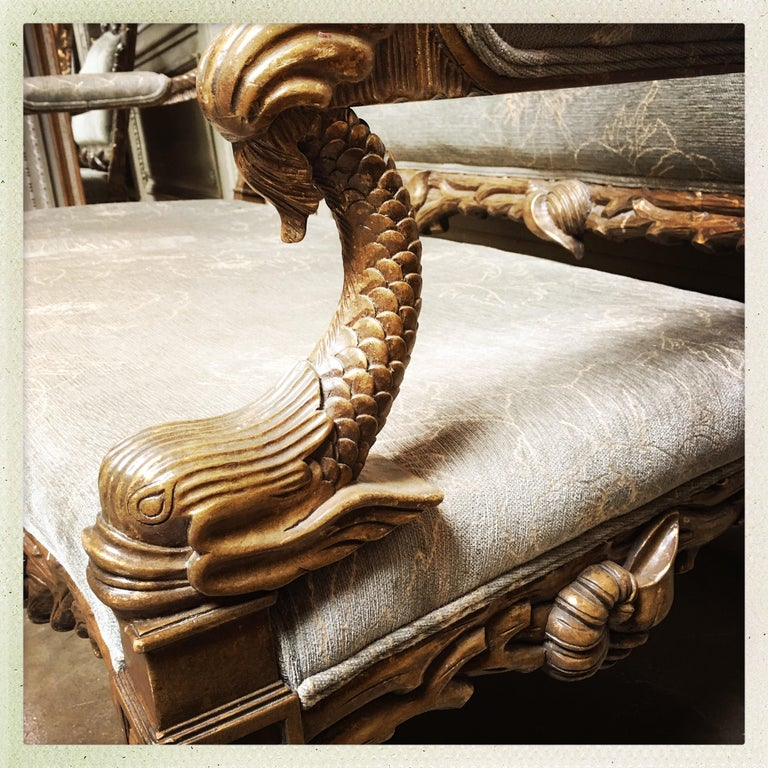Italian Carved Wood Grotto Style Sofa with a Metal Leaf Finish For Sale