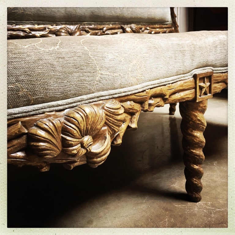 Carved Wood Grotto Style Sofa with a Metal Leaf Finish For Sale 1