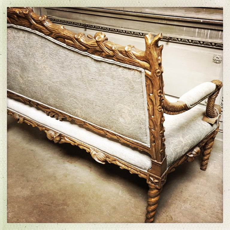 Carved Wood Grotto Style Sofa with a Metal Leaf Finish For Sale 3