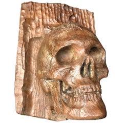 Carved Wood Memento Mori Skull Italy, 18th Century