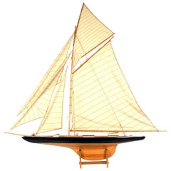 Carved Wood Sailboat Scale Ship Model on Stand